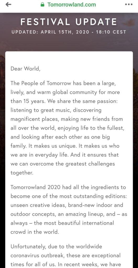 Tomorrowland cancelado